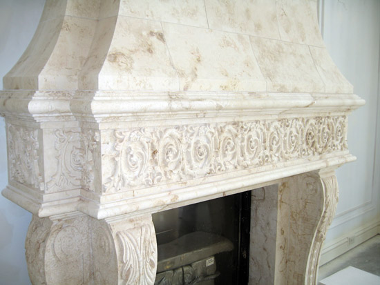 Complex Carved Fireplace