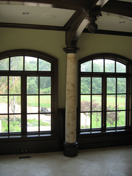 Interior Stone Column Shaft with Wood Capitals