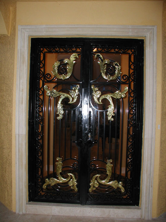 Iron Entry Door with Gold Accents