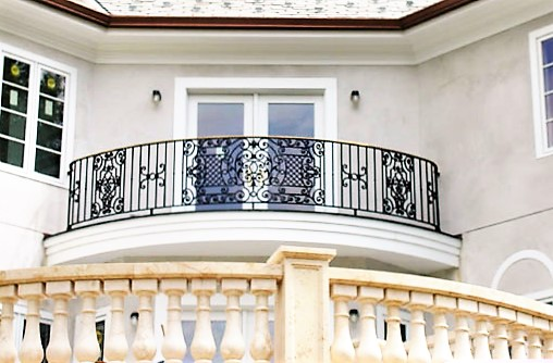 Iron Balcony Rail with Bronze Accents