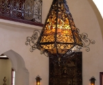 Custom Chandelier with Antique Glass